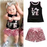 Wholesale Sequin Baby Outfits - 2017 Summer Lovely Toddler Kids Clothes Baby Girl Black Sleeveless Shirt Tops+ Pink Sequins Shorts Pants Outfit 2Pcs Set 1-6T