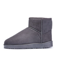 Wholesale man snow boots big size resale online - Winter New Plush Inside Men Snow Boots Fashion Flock Slip on Men Ankle Boots Keep Warm Flat Men Cotton Boots Big Size