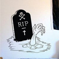 Vinyl black tombstone - New Happy Halloween Zombie Hand and Tombstone Living Room Vinyl Carving Wall Decal Sticker for Holiday party Home Window Decor