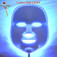 Wholesale Led Light Device For Wrinkles - 7 Colors Photon Pdt Led Facial Mask Blue Green Red Light Therapy Beauty Device For For Skin Rejuvenation Wrinkle Removal+ Derma Roller