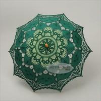 Wholesale Lace Parasol Umbrella Wholesale - Wedding Parasols Craft Lace Bridal Umbrella Hook Flower Studio Photography Props Theme Photo European Solar Style Handmade Cotton