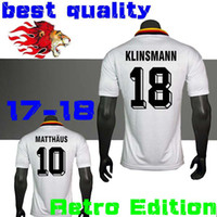 Wholesale Germany Army - 1990 1994 1998 Germany Retro version VINTAGE CLASSIC Soccer Jersey KLINSMANN 18 MATTHAEUS 10 home away 2017 2018 shirts JERSEY
