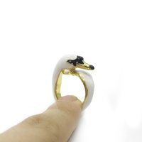 Wholesale Girls Enamel Jewelry - 2017 Unique Design Grilled Enamel Girls cute animal rings metal white swan ring jewelry