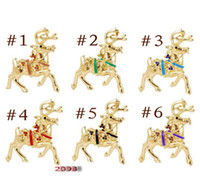Wholesale Reindeer Brooch - Multicolored Christmas Diamond brooches drip Christmas reindeer brooch coloured Crystals Brooch free shipping 12 pcs a bag