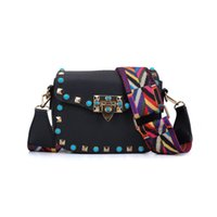 Wholesale Mini Bag Shoulder Strap - Fashion Mini Lady Crossbody Bag Flap Wide Colorful Shoulder Strap PigBag Adjustable Handle Rivet Candy Small Shoulder Bag Handbag VK5166-5-8