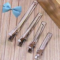 Wholesale Metal Aligator Hair Clips - Wholesale- 10Pcs Woman 40 55 mm DIY Single Prong Aligator Flat Hair Bows Metal Clips