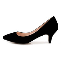 Wholesale Ladies Shoes Size 44 - Sapato Feminino Fashion Pointed Toe Women Pumps Comfortable Med Low Heels 5 cm Office Ladies Party Dress Single Shoes Big Size 35-43 44