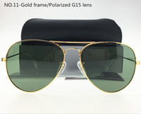 Wholesale Tac Lens - 62MM Polarized TAC lens Pilot Sunglasses For Men and Women Brand Designer Vintage Sport Sun glasses G15 With case and box