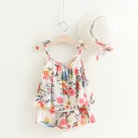 Wholesale Top Hat Pieces - Baby Kids Summer Clothes Fashion Floral Clothing Girls Top+Pants Shorts+hat 3 Pcs Suit Outfit Clothing Set 5 s l