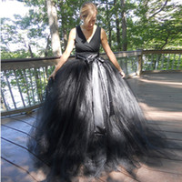 Wholesale Evening Ceremony Dress - Black Tulle Skirt V-Neck charming Prom Dancing Dresses Cheap Evening Dresses Floor Length Vestido De Festa Ceremony Gowns