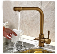 Wholesale Vanity Contemporary - Wholesale- Luxury Antique Brass Kitchen Faucet Hot & Cold Vessel Mixer Tap Pure Water Spout Vanity Faucet