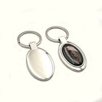 oval custom stickers - DHL Custom Business Gift Metal Oval Shaped Keyring Laser Engraving Or Resin Sticker Logo Keychain