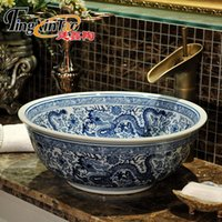 Wholesale Hand Painted Wash Basin - blue and white China Artistic Europe Style Counter Top porcelain wash basin bathroom sinks ceramic art flower vessel sink