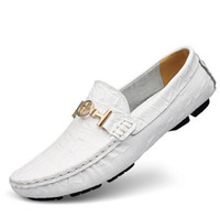 Wholesale Drivers Shoes - Plus Size EUR38-50 Designer Alligator Leather Printed Shoes Mens Leather Flats Men's Driver Loafers Slip On Handmade moccasins