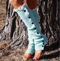 Wholesale One Button Boot - New Arrive Long solid button down Lace Knitted Leg Warmers Boot Stocking Socks Boot Covers Leggings Tight