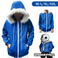 Wholesale Christmas Coats For Men - New Undertale Sans Coat Unisex Skeleton Zipper Hoodies Anime Cosplay Sweatshirt for Christmas boy's gift 7006200
