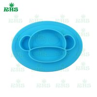 Wholesale Baby Monkey Dishes Silicone One Piece Placemat Bowl BPA Free Baby Feeding Bowl Placemat Infant Tableware Divided Bowl