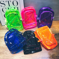 Wholesale backpack middle school - 2017 new transparent shoulder bag men and women middle school students bag waterproof beach bright fashion backpack