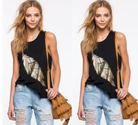 Wholesale Ladies Vests For Sale - 2016 Hot Sale Black Sleeveless Gold Feather Pattern Loose T Shirt For Gil Crew Neck Casual Lady Vest Cheap Tank Tops Free Shipping