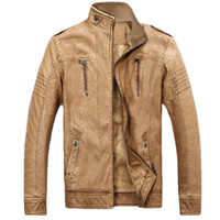 Wholesale Genuine Leather Jackets For Mens - Wholesale- New PU Lether Jacket Man Biker Jackets Male Pu Leathers Coat For Men Masculine Jean Jacket Mens Motorcycle Jackets