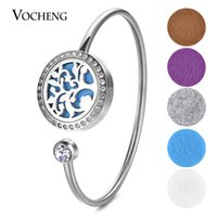 25mm Aroma Perfume Diffuser Locket Bangle Fit 18mm Felt Pad Acier inoxydable avec cristal sans feutre VA-589