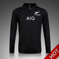 Wholesale ruby long - 2017 New Zealand Long sleeve Ruby Jersey for adult 2016 men's Home Black Shirts All top thailand quality Rugby Jerseys S-2XL