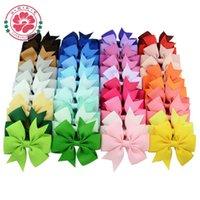 bebek kız saç pin klipleri toptan satış-Saç Yaylar Saç Pin Çocuklar Kızlar için Çocuk Saç Aksesuarları Klipleri ile Bebek Hairbows Kız Çiçek Klip Sıcak 40 Renkler