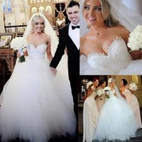 Wholesale Organza Ball Gown Beaded Strapless - Vintage Strapless Princess Beaded Lace Ball Gown Wedding Dress Bridal Dresses Tulle Robe De Mariage Free Shipping
