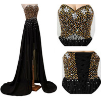 Cheap High Low Black Prom Dress Gold Beads Sequins Crystals Prom Dressess Sweetheart Sem mangas Lace-up Back Homecoming Party Gowns