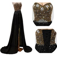 Cheap High Low Black Prom Dress Or Beads Sequins Cristaux Prom Dressess Sweetheart Sans manches Lace-up Retour Homecoming Party Gowns