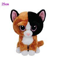 "Wholesale Big Eyed Stuffed Animals - Wholesale- 25CM 10"" In Stock Original Ty Beanie Boos Big Eyed Stuffed Animal TAURI - cat tan med Kids Toy Birthday Gift Plush Toy"