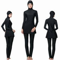 Wholesale Women Muslim Swimwear Islamic Swimsuit - women Muslim Swimsuit Islamic Full Cover Modest Swimwear Beachwear 2017 New Burkini