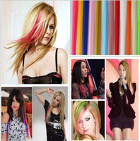 Wholesale Hair Extensions Sale Free Shipping - New Fashion Popular Colored Hair extensions clips Synthetic Clip Colorful Popular Hair clip Hot Sales free shipping