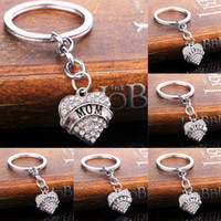 Wholesale Car Key Holder Good - Good A++ Christmas gifts peach heart flash drill family members affectionate inscribed key ring KR002 Keychains mix order 20 pieces a lot