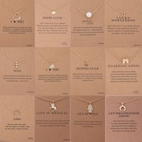 Wholesale Christmas Day Cards - 12 Styles Dogeared choker Necklaces With card Gold Circle Elephant Pearl Love Wings Cross Unicorn Pendant Necklace For Fashion women Jewelry