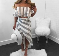 Wholesale Trumpet Sets - Casual Beach Asymmetrical Slash Neck Off the Shoulder Striped Print Two Piece Skirt Dress Set Cropped Crop Top