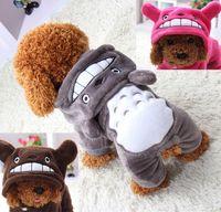 теплая зимняя одежда для собак оптовых-Мягкая теплая одежда для собак пальто костюм для домашних животных флисовая одежда для собак щенок мультфильм зима с капюшоном куртка осень одежда XS-XXL
