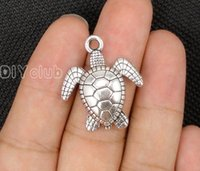 Wholesale Turtle Diy - 30pcs-Antique Bronze  Silver Tone Sea Turtle Tortoise Charm Pendant Best Gifts For Lovely Connector DIY Jewelry Making