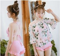 Wholesale Bikini Korea - Japan and South Korea Swimsuit Bikini three sets of small chest wood ears 2017 new style sexy small fresh bikini Pink