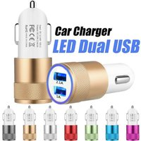 Wholesale Usb Dual Port Car Adapter - For Samsung USB Car Charger Metal Dual Ports Universal 12 Volt   1 ~ 2 Amp Led Led Light Adapter Chargers For iPhone 8 Samsun