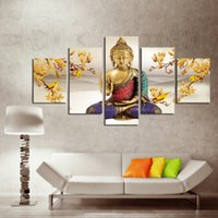 Wholesale Orchids Canvas Oil Painting Sets - (No Frame)5 Pcs Set Without Framed Creative Religious Orchid of Buddha Landscape Oil Painting