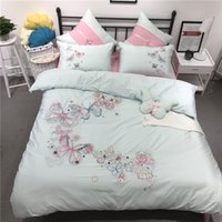 Wholesale Butterfly Sheets Comforter Sets - 100% Cotton Butterfly Cartoon Bedding set Queen King Size girls Bed Linen Bed Sheet set Duvet Cover Pillow covers 4 Pcs Bed set