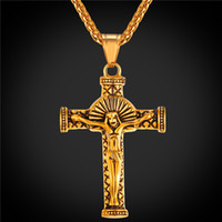 Wholesale Crucifix Necklace Mens - Vintage Crucifix Cross Necklace Pendant 18K Real Gold Plated Jesus Piece Jewelry Mens Stainless Steel Cross