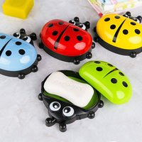 Wholesale soap covers online - Plastic Soaps Dishes Cute Lady Bug Water Drain Soap Box With Cover Home Bathroom Accessories Colourful rl C R