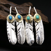 Wholesale Silver 925 Pendent - 925 Goro's sterling silver jewelry necklace pendant nice feather pendent with turquoise stone unisex no plating free shipping