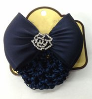 Wholesale Diamante Hair Bow - Hair Bun Net & Matching Diamante Bow - Showing Dressage Competition Diamond Crystals Rose Bow Crochet Hair Net Tail Holder