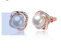 Wholesale D Pearls - Fashion has the temperament of 18K rose gold earrings with the American and European classical pearl nail han edition accessories