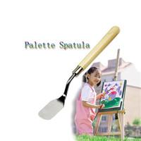 Wholesale Texture Oil Art Paint - Wood Handle Metal Palette Spatula Oil Texture Painting Art Crafts Tool Palette Spatula