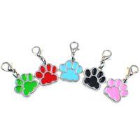 köpekler emaye takılar toptan satış-50 adet Güzel Emaye Kedi Köpek / Ayı Pençe Baskılar Dönen Istakoz Kapat dangle charms Anahtarlık Anahtarlıklar çanta Takı Yapma HC356-1