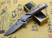 cuchillo plegable táctico damasco al por mayor-Tamaño grande Browning 338 Patrón de Damasco Hoja de mango de madera Tactical plegable cuchillo 440C 57HRC Caza de acampar al aire libre bolsillo de supervivencia EDC